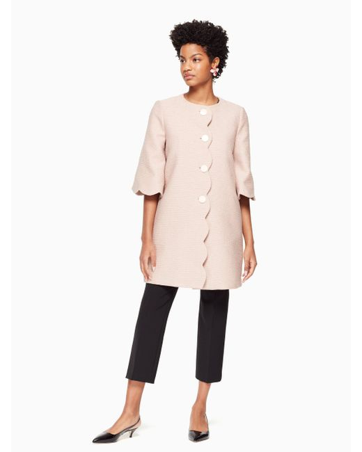 Kate Spade - Pink Scallop Tweed Coat - Lyst