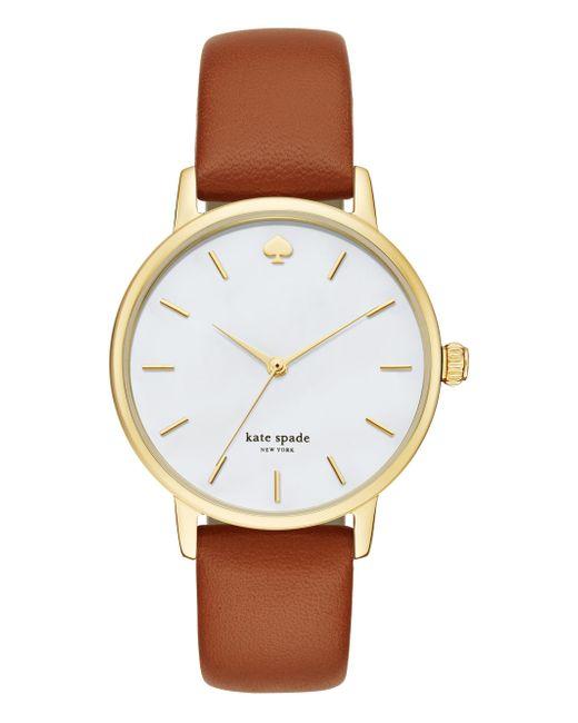 Kate Spade - Metallic Metro Brown Leather Watch - Lyst