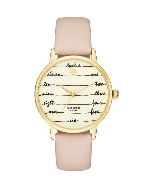 Kate Spade - Pink Metro Chalkboard Vachetta Leather Watch - Lyst
