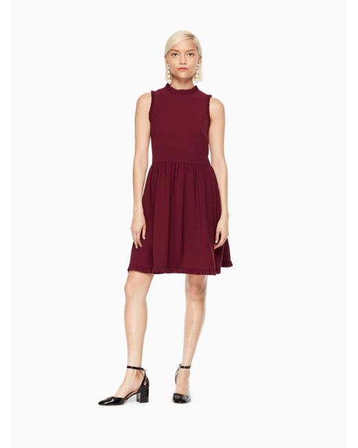 Kate Spade - Red Ruffle Fit And Flare Dress - Lyst