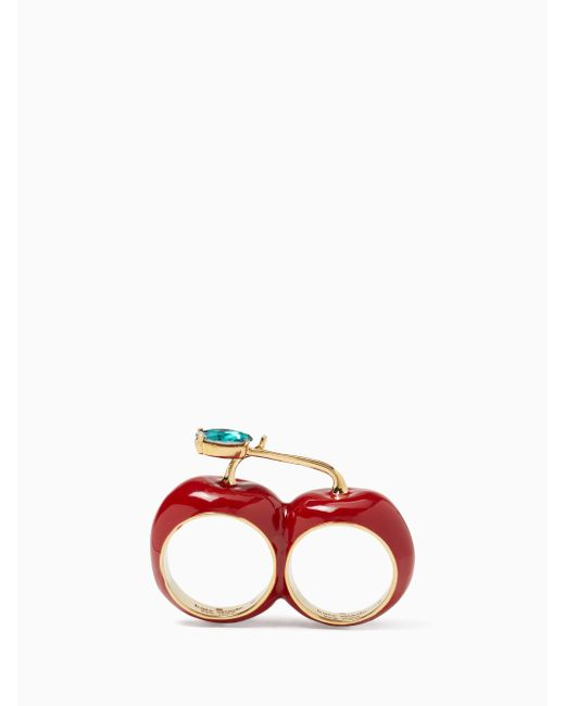 Kate Spade | Red Ma Chérie Cherry Double Ring | Lyst