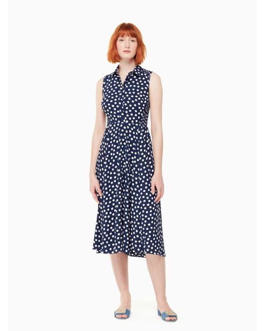 Kate Spade - Blue Cloud Dot Midi Dress - Lyst
