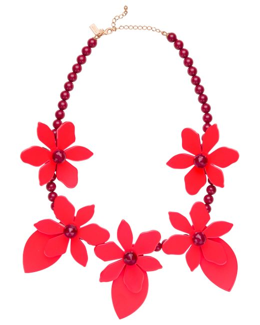 Kate Spade | Red Lovely Lilies Statement Necklace | Lyst