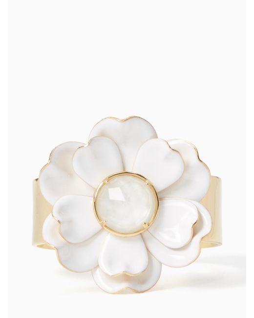 Kate Spade   White Bright Blossom Flower Cuff   Lyst