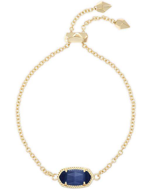 Kendra Scott - Blue Elaina Gold Adjustable Chain Bracelet In Navy Cat's Eye - Lyst