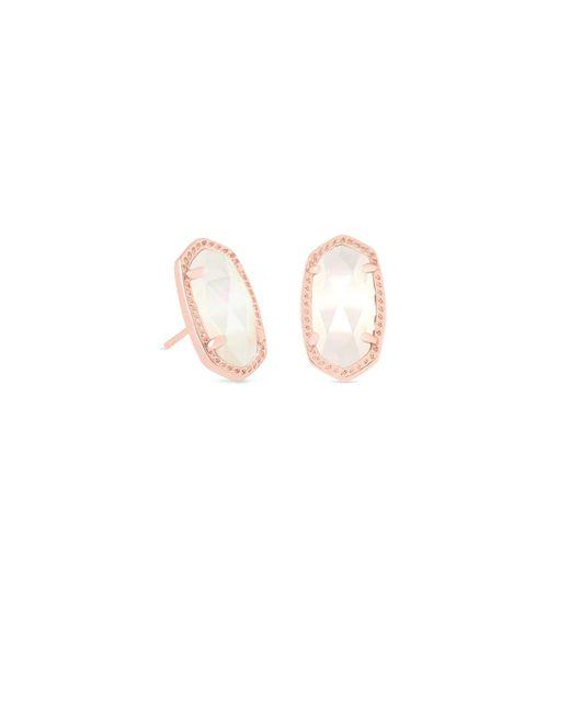 Kendra Scott - Multicolor Ellie Rose Gold Stud Earrings In Iridescent Drusy - Lyst