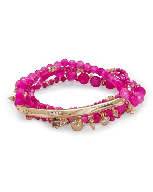 Kendra Scott - Supak Gold Beaded Bracelet Set In Pink Agate Mix - Lyst