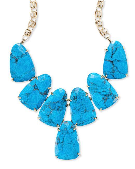 Kendra Scott - Blue Harlow Gold Statement Necklace In Aqua Howlite - Lyst