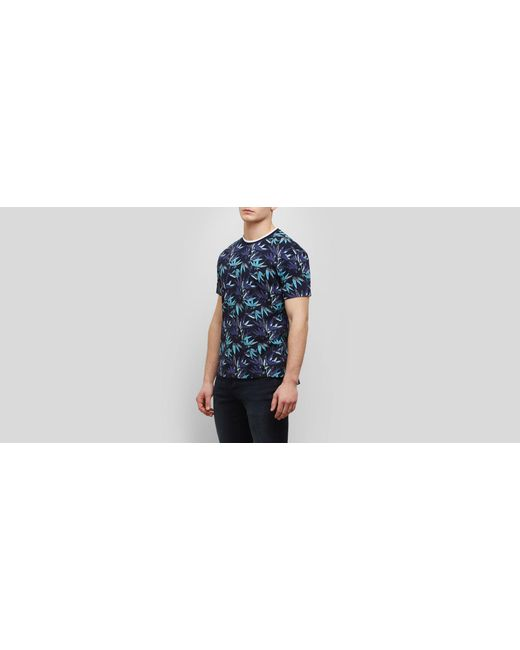 Kenneth Cole Reaction - Blue Short-sleeve Allover Palm Print Crew for Men - Lyst