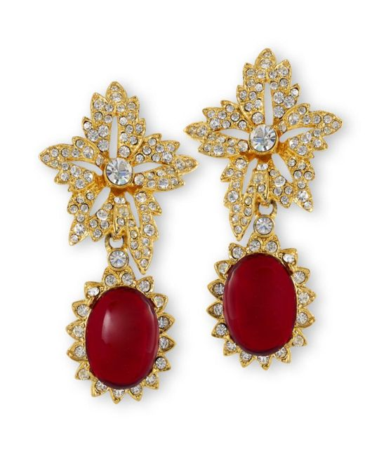 Kenneth Jay Lane | Red Ruby Drop Clip Earring | Lyst