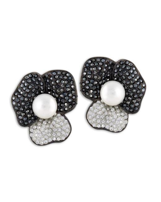 Kenneth Jay Lane | Black Hematite Flower Clip Earring | Lyst