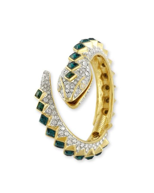 Kenneth Jay Lane | Green Crystal And Emerald Snake Bracelet | Lyst