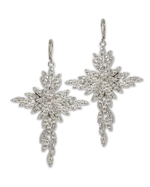 Kenneth Jay Lane | Metallic Crystal Coss Eurowire Earring | Lyst