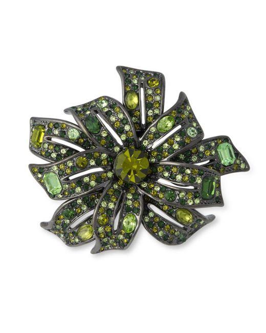 Kenneth Jay Lane | Gunmetal Multi Green Flower Brooch | Lyst