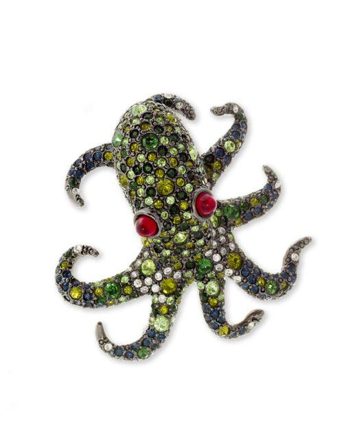 Kenneth Jay Lane | Multicolor Multi Green Pavé Octopus Brooch | Lyst