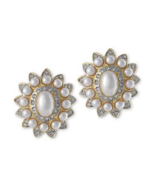 Kenneth Jay Lane | Metallic Pearl And Crystal Clip Earring | Lyst