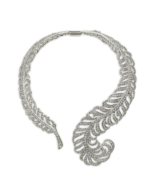 Kenneth Jay Lane | Metallic Crystal Feather Necklace | Lyst