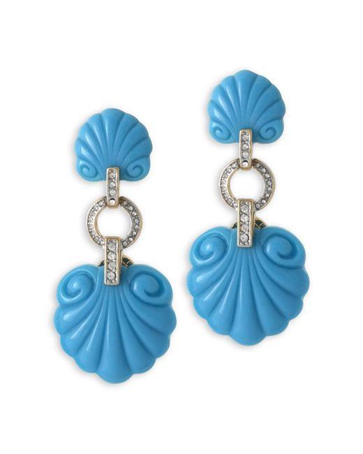 Kenneth Jay Lane | Blue Turquoise Scallop Shape Clip Earrnig | Lyst