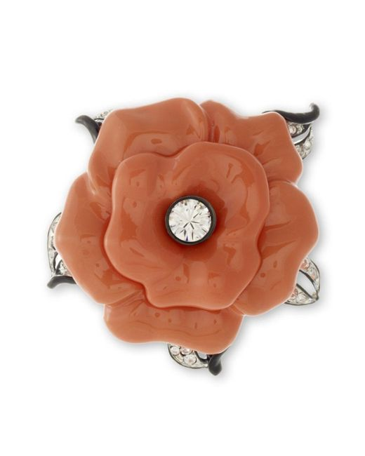 Kenneth Jay Lane | Orange Coral Flower Brooch | Lyst