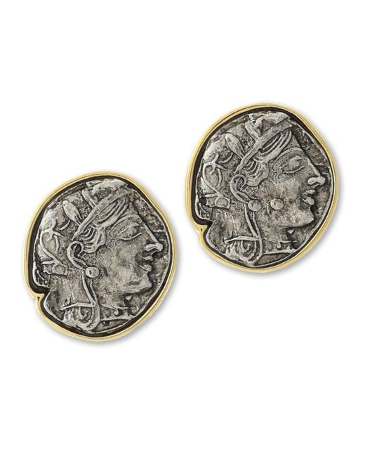 Kenneth Jay Lane | Metallic Twotone Coin Clip Earring | Lyst