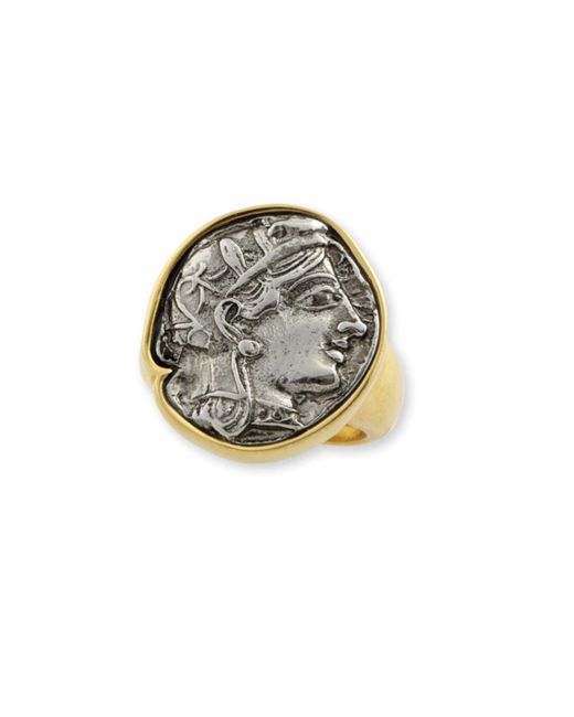 Kenneth Jay Lane | Metallic Two Tone Coin Ring | Lyst