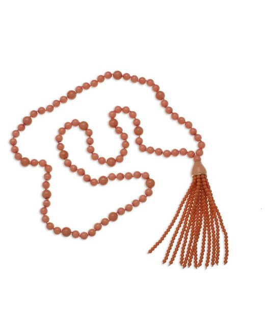 Kenneth Jay Lane | Pink Coral Tassel Necklace | Lyst