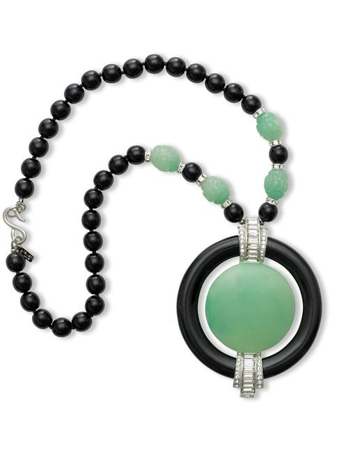 Kenneth Jay Lane | Black Art Deco Pendant Necklace | Lyst