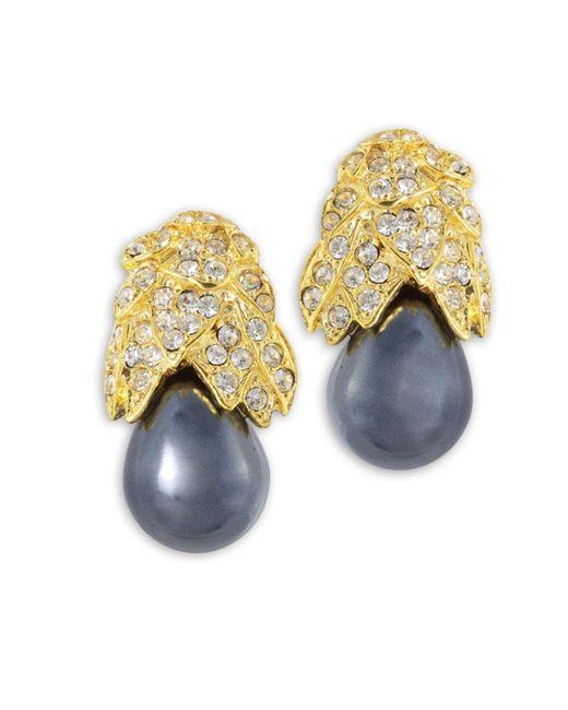 Kenneth Jay Lane | Metallic Grey Pearl Drop Clip Earring | Lyst
