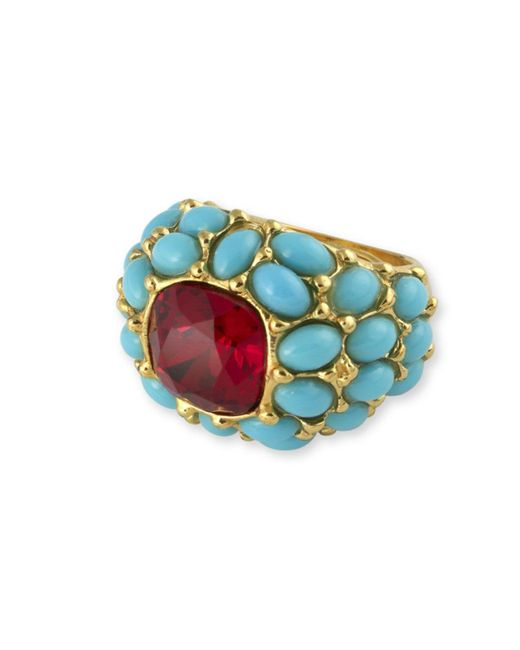 Kenneth Jay Lane | Blue Turquoise And Ruby Ring | Lyst
