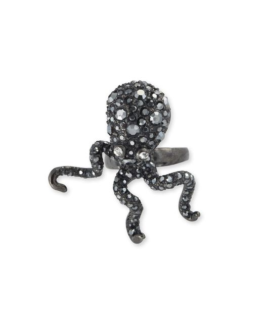 Kenneth Jay Lane | Black Hematite Pavé Octopus Ring | Lyst