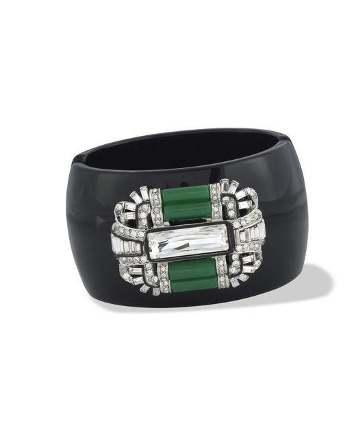 Kenneth Jay Lane | Black Jade Art Deco Cuff | Lyst