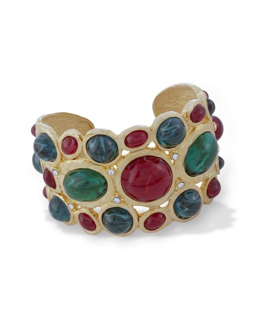Kenneth Jay Lane | Green Emerald And Ruby Scalloped Edge Cuff | Lyst