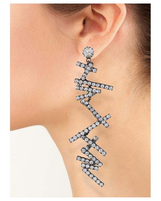 Kenneth Jay Lane | Metallic Crystal Zigzag Clip Earring | Lyst
