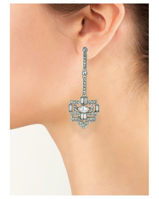 Kenneth Jay Lane | Metallic Crystal Art Deco Pierced Earring | Lyst