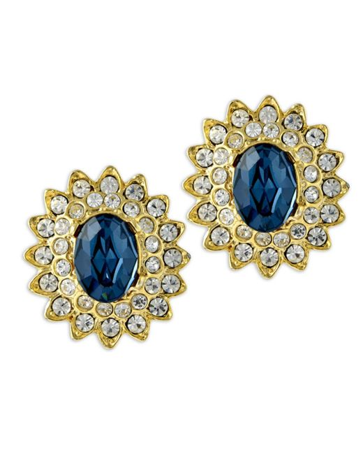 Kenneth Jay Lane | Blue Gold And Crystal Setting Sapphire Stone Center Clip Earring | Lyst