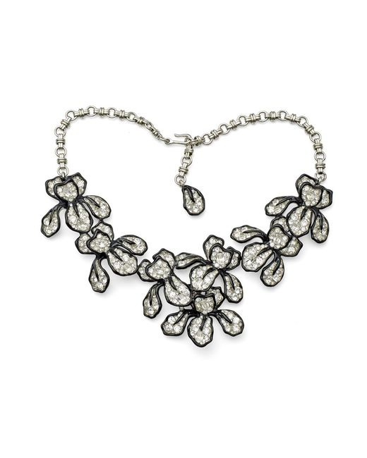 Kenneth Jay Lane | Metallic Crystal Flower Necklace | Lyst
