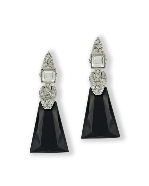 Kenneth Jay Lane | Metallic Jet Art Deco Clip Earings | Lyst