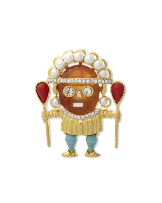 Kenneth Jay Lane | Multicolor Amber Medicine Man Brooch | Lyst