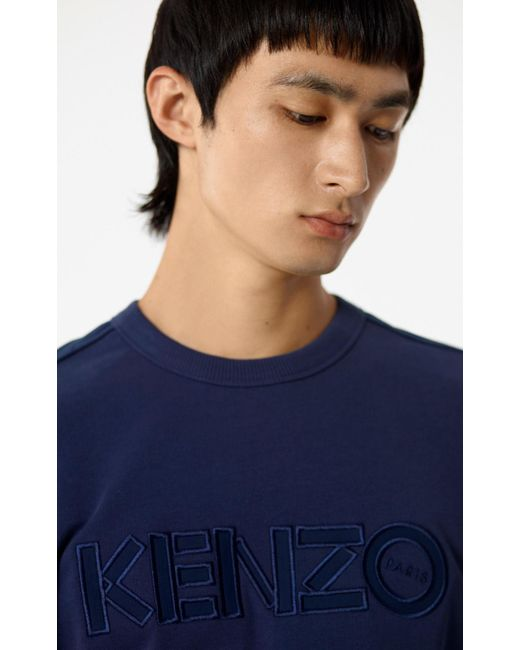 KENZO - Blue Jumper With Tone-on-tone Paris Logo for Men - Lyst