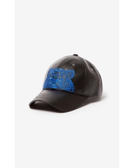 KENZO - Black Tiger Leather Cap for Men - Lyst