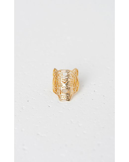 KENZO - Metallic Medium Tiger Ring - Lyst