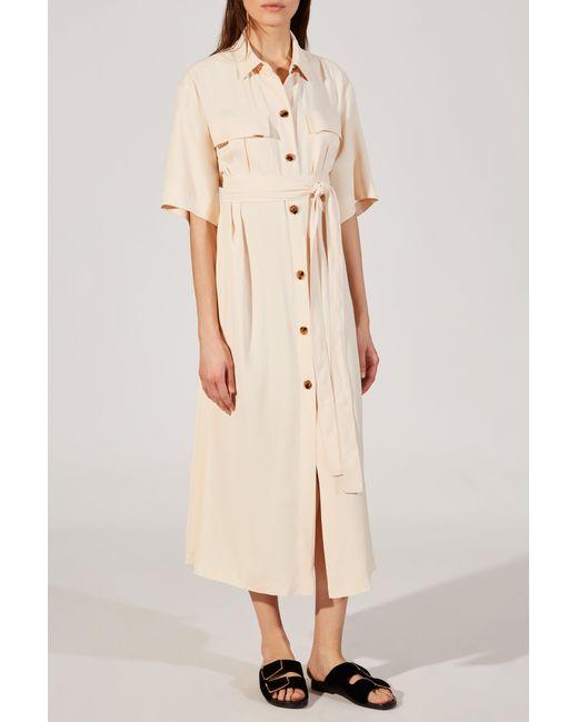 Khaite - Natural Leilani Tie-waist Button-down Crepe Dress - Lyst
