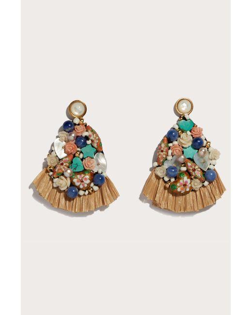 Lizzie Fortunato - Blue Daydream Raffia Earrings - Lyst