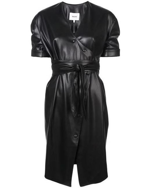 Nanushka - Black Wet Look Shirt Dress - Lyst