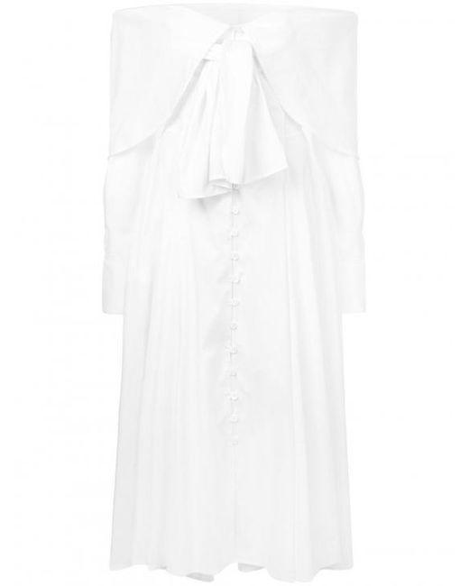 Rosie Assoulin - White Off Shoulder Maxi Dress - Lyst
