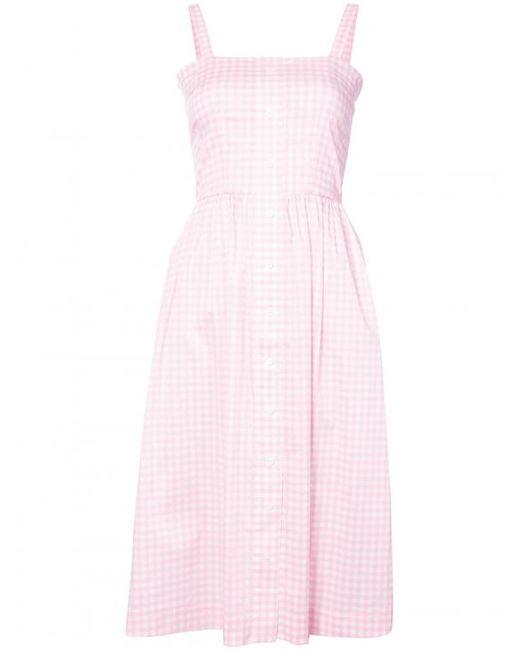 HVN - Pink Laura Gingham Dress - Lyst