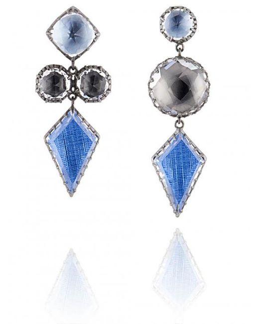 Larkspur & Hawk - Blue Sadie Mis-matched Kite 3-drop Post Earrings - Lyst