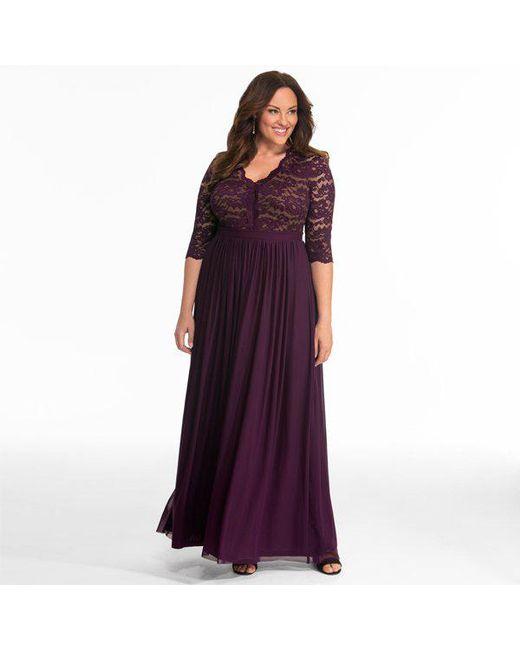 6e51fb62b4e ... Kiyonna - Purple Jasmine Lace Evening Gown - Lyst ...