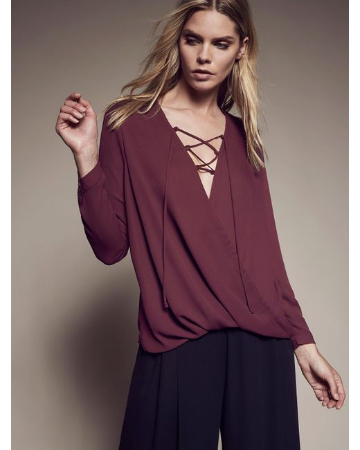 Krisa | Purple Lace Up Surplice Blouse | Lyst
