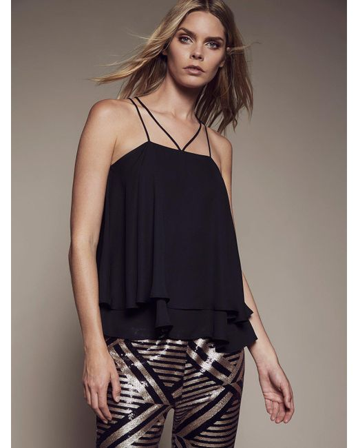 Krisa - Black Double Strap Layered Cami - Lyst